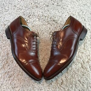 Loake Mens Shoes UK 11 Eur 45 Brown Glossy Leather Lace Up Brogue Oxford