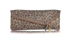 HENRI BENDEL Leather Clutch Leopard Brown Gold Bag Evening Purse Envelope Flap