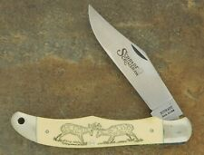 SCHRADE USA 1981 SCRIMSHAW FIGHT'N BUCKS LARGE LOCKBACK KNIFE SC500