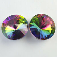 30x15mm 2Pcs Faceted Multicolor Titanium crystal Agate Round Pendant Bead NN809