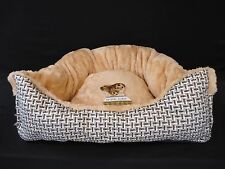 "Triangular Pet Puppy Dog Cat Bed Tan Fleece With Black Gray White 16"" x 11"" x 5"""
