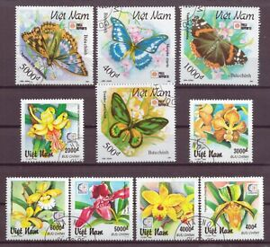 Vietnam, Butterflies & Flowers, Cancelled to Order, hinged, 1991, 1995