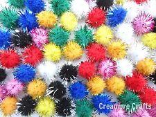 40 X 12mm Mini Craft Glitter Poms Fluffy Pompoms Kids Arts Crafts