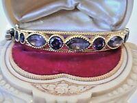 Gorgeous Vintage Victorian Style  AMETHYST .925 SILVER & BRONZE BANGLE BRACELET