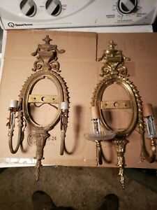 Antique Mirrored French Sconces brass bronze
