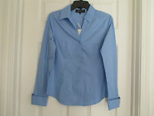NWT JONES NEW YORK PLATINUM EASY CARE SIZE 2 NEW BLUE DOUBLE CUFF TOP
