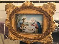 Holy Family Light Plaster Frame Home Shrine Catholics religious