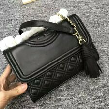 Authentic Tory Burch Fleming Small Convertible Leather Shoulder Bag Black