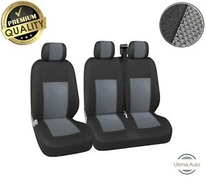Premium Grey-Black Fabric Seat Covers 2+1 For Ford Transit