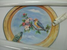 "HOME SENSATIONS # 8101 TROMPE L'OEIL WALL DECOR 18"" ROUND MURAL BIRDS ROUND NEW"