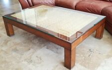 Ralph Lauren Modern Barn Cocktail Sofa Coffee Table Seagrass Rope w/ Glass Top