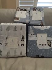 7pc Pottery Barn KIDS Organic Winter Bear Flannel DUVET SHAM SHEETS 🎄Queen