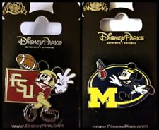 "Disney Parks 2 Pin Lot Mickey Football FSU + ""M"" Michigan"