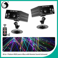 2PCS 48 Pattern Stage Lighting Laser Projector LED RGB Beam Party Disco DJ Show