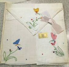 Vintage Butterfly Cotton Handkerchiefs Set of Three, Pink, Blue and Yellow, 1940