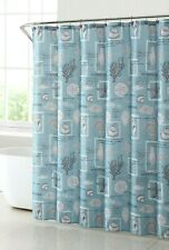 Coastal Life Blue Fabric Shower Curtain and Starfish Resin Hooks Nautical Bath
