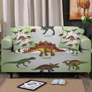 Dinosaur Cartoon Kids Sofa Couch Chair Cushion Stretch Cover Slipcover Set Decor