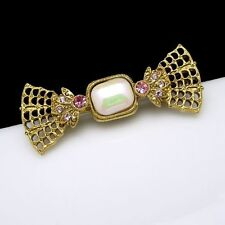1928 Vintage Bow Brooch Pin Faux Opal Pink Rhinestones Latticed Pretty