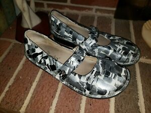 ALEGRIA FEL-181 WHITE BLACK GRAY LEATHER MARYJANE SHOES WOMEN'S SIZE 39