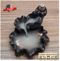 Ceramic Backflow Incense Burner Lotus Waterfall & Fish YK021 & Incense Gift