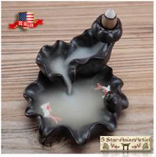 Ceramic Backflow Cone Incense Burner Lotus Waterfall & FishYk021 & 10 Cones Gift