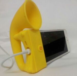 YELLOW Portable Silicon Horn Amplifier Loud Speaker Desk Stand Apple iPhone 5 5S