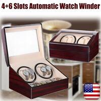 Luxury 4+6 Automatic Rotation Wood Watch Winder Storage Display Case Box Holder