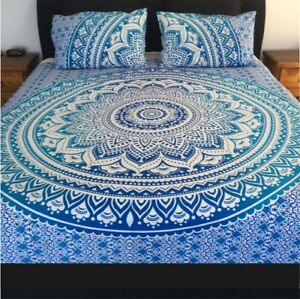 Indian Queen Ombre Bedspreads Mandala Tapestry Hippie Bohemian Bedding Set Throw