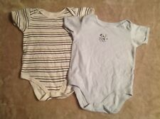 Boys 18-24 months Blue White Striped Dog Vests x 2