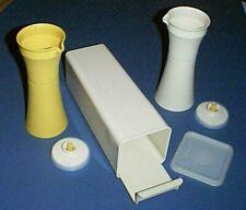Vntg TUPPERWARE Push-Button Vinegar & Oil Cruets and Cheese Box / Cracker Keeper