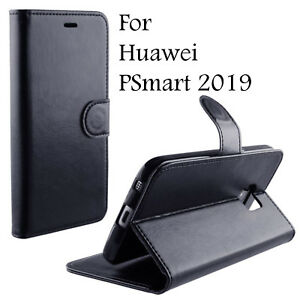 BLACK PU LEATHER WALLET CASE COVER KICKSTAND CASE FOR HUAWEI PSMART 2019