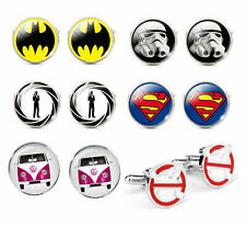 Men's Novelty Cufflinks - Comic Book, Film and Hobby themes, Ideal for Weddings