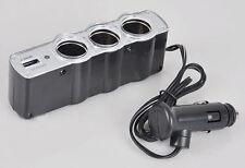 NEW 3 Way Car Cigarette Lighter Socket Splitter Charger Power DC+USB 12V-24V
