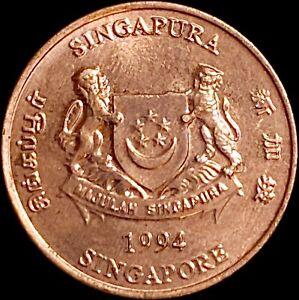 SINGAPORE 1 Cent, 1994 - Vanda Miss Joaquim Orchids