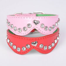 Dog Collar Bling Crystal Rhinestone Bowknot Pet Puppy Cat Leather Necklace Pop.