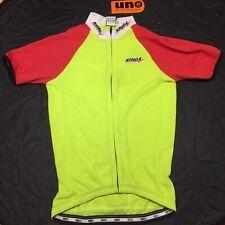 NWT Uno Cycling Jersey Full Zip Medium Peach/Fluoro Yellow/ Black Accent Sleeve
