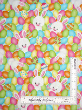 Easter Bunny Rabbit Egg Multicolor Cotton Fabric HG&Co Hop To It By The Yard