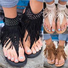 Ladies Sandals Flat Tassel Summer Shoes Slip On Open Toe Casual Zipper Thongs