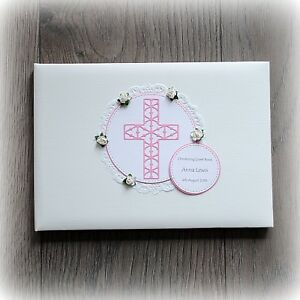 PERSONALISED BABY GIRL CHRISTENING/ BAPTISM GUEST BOOK Handmade boxed