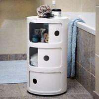 MODERN PLASTIC BATHROOM CABINET SHELF CUPBOARD STORAGE TOILET UNIT FREE STANDING