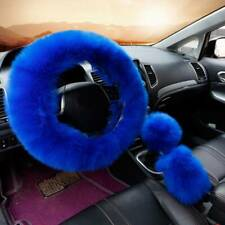 1 Set Car Steering Wheel Covers Mature Gem Blue Furry Fluffy Thick Accessories