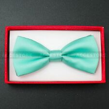 Children Kids Toddler Boys Girls Solid Colour Bowtie Pre Tied Bow Tie Party Prom Teal Green