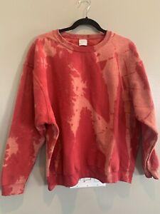 Sweatshirt Bleach Tie Dye , Reverse Dye Bleaching Size XLarge red