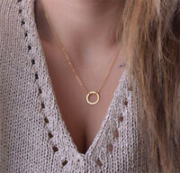 Dainty Open Circle Pendant Gold Long Chain Statement Necklace Summer Jewelry