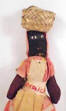 Vintage Jamaica Cloth Doll Basket on Head Souvenir Feet Worn As Is Condition
