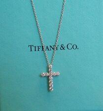 TIFFANY & Co. Platinum Diamond Cross Pendant Necklace