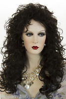 Darkest Brown Brunette Long Wavy Curly Wigs