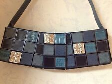 AUTH BARRY KIESELSTEIN-CORD HAND MADE BAG/PURSE BLUE TILES OF EXOTIC SKINS NWT