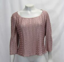 New St. John Evening L Large12 14  Frosted Rose Blouse Top Knit Rhinestones Pink