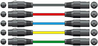 5 x 6M Male to Female XLR Mic Leads - Balanced Microphone Cable Various Colours